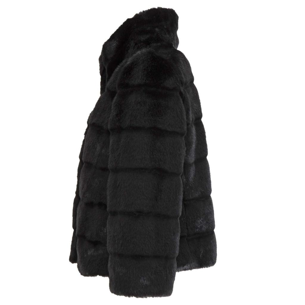 Cappottino corto eco pelliccia manica a 3/4 0700NERO