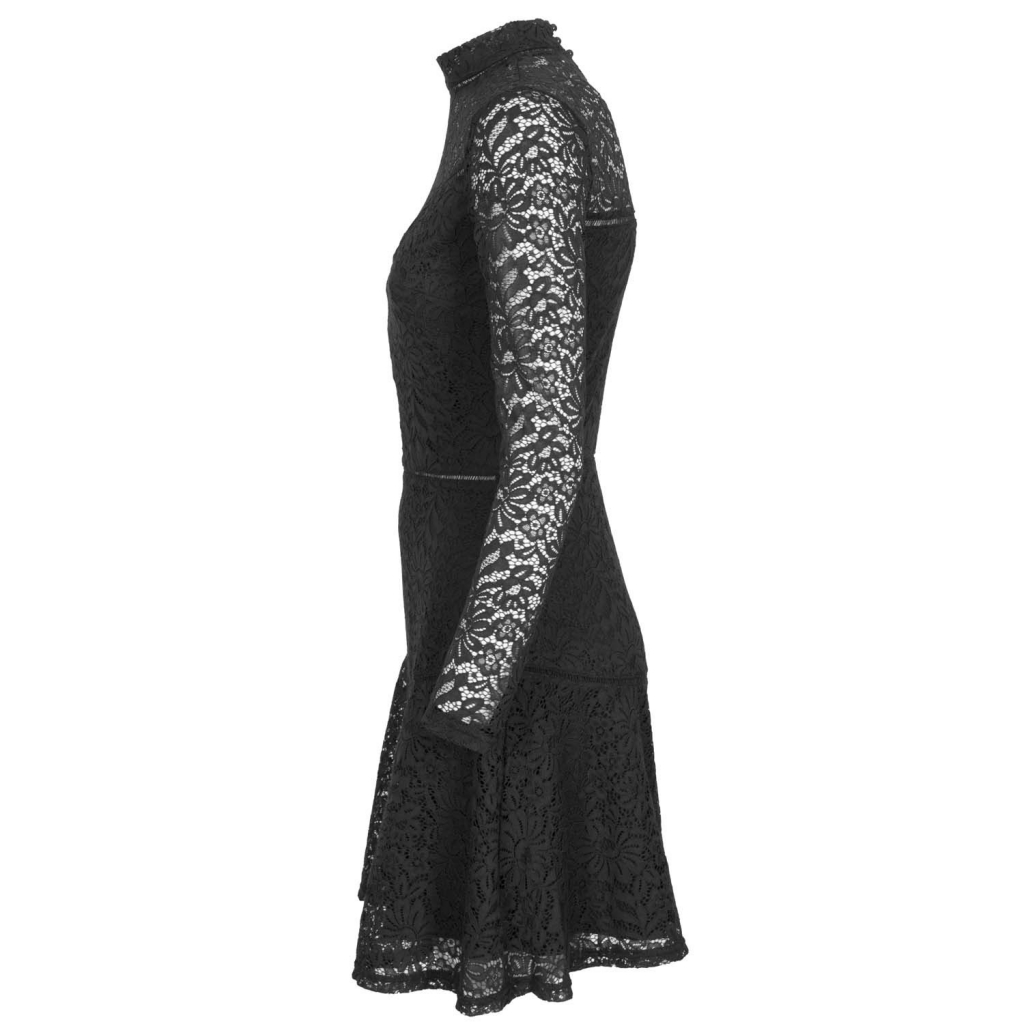 Short dress in lace with high collar A996JETBLACK