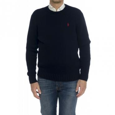 Camicia - 727573 maglia cotone grosso girocollo BLU
