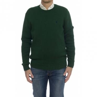 Camicia - 727573 maglia cotone grosso girocollo VERDE MEDIO