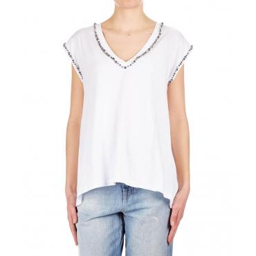 T-shirt con dettagli strass White