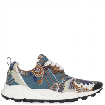 Sneakers Butterfly in tela con fantasia multicolor 9173GREEN