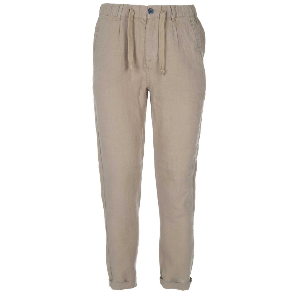 ALLEY DOCKS - Pantaloni in lino con coulisse in vita FANGO - Jeans ... d6783eea8a7