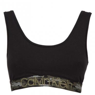 Top in cotone elasticizzato con ricamo logo 001BLACK