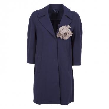 Cappotto leggero blu con spilla 93921BLUNAVY