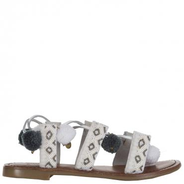 Sandalo con pon pon e perline WHITE