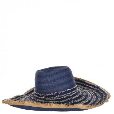 Cappello da mare blu in paglia e tessuto DARK NAVY