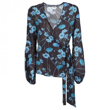Maglia nera incrociata con fiori blu NR/TUR