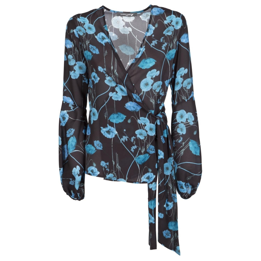 Maglia nera incrociata con fiori blu
