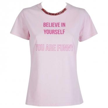 T-shirt Believe in yourself con girocollo gioiello NY3ROSA/FUXI