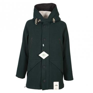 Cappotto in misto lana con colletto in sherpa e cappuccio VV
