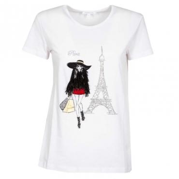 T-shirt con stampa paillettes e strass I2ZDBIANCOPA