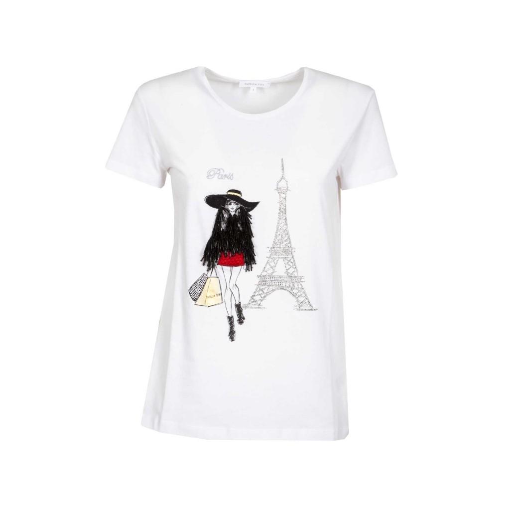 innovative design a4087 9d99b PATRIZIA PEPE - T-shirt con stampa paillettes e strass I2ZDBIANCOPA...