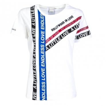 Maglietta bianca con bande lettering Z10WHITE