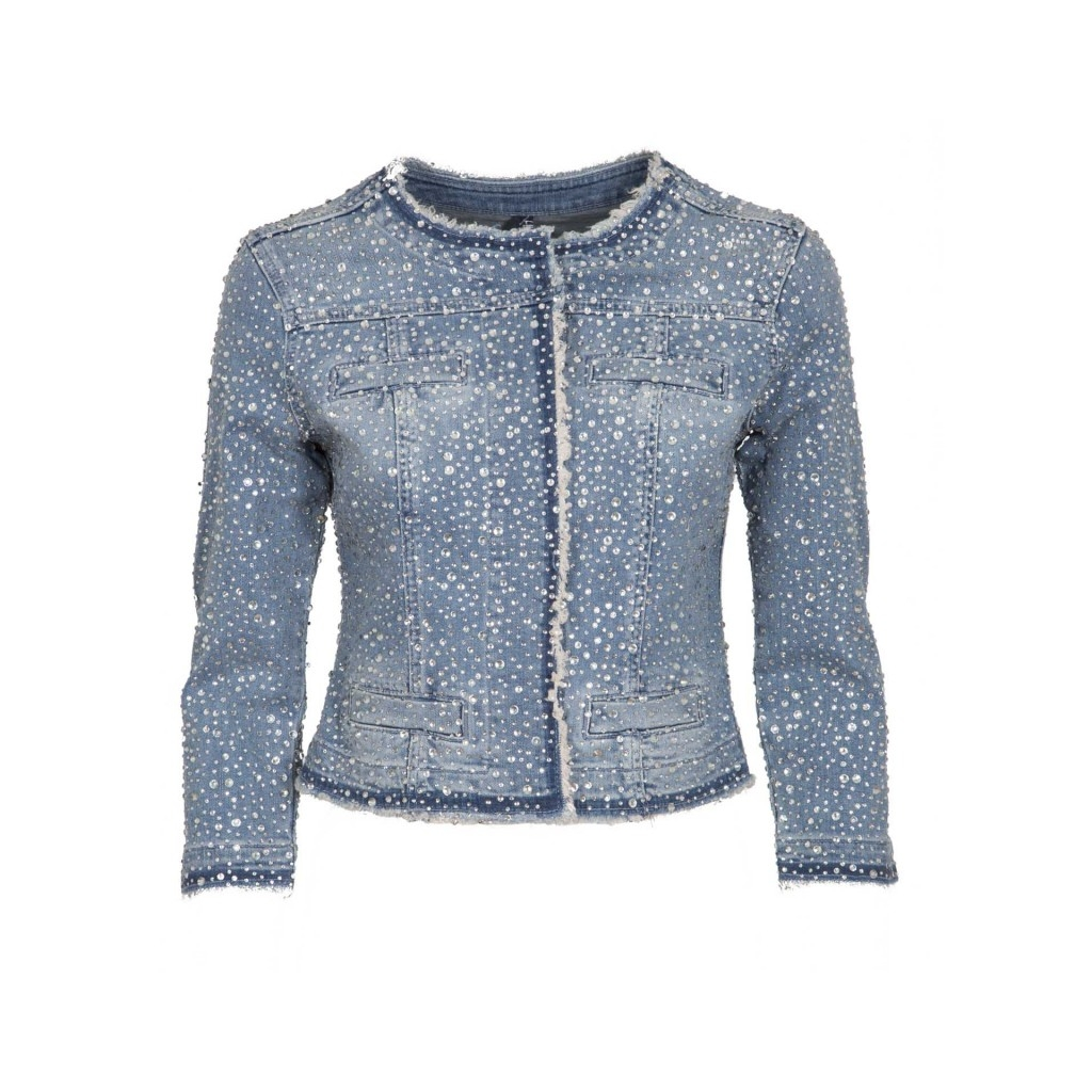 on sale dee95 02279 LIU-JO - Giacca in jeans modello Kate con strass 77642DENBLUE - Gia...