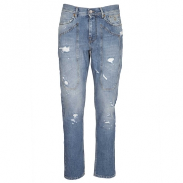 Jeans con toppa e abrasioni D630LIGHTBLU
