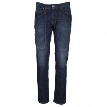 Jeans stretch slim fit con toppa D622DARKBLUE
