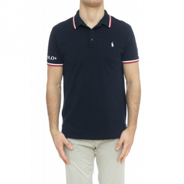 Polo - 753174 polo slim righine collo 005 - Blu