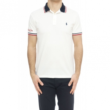 Polo - 753174 polo slim righine collo 002 - bianco