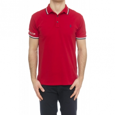 Polo - 753174 polo slim righine collo 003 - Rosso