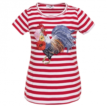 T-SHIRT PATCH GALLO BAMBINA RIGATO