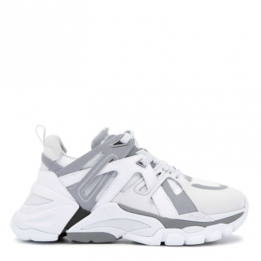 Sneakers Flash allacciata in nappa e nubuck WHITE/WHITE