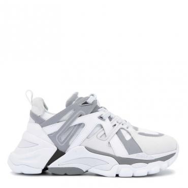 Sneakers Flash allacciata in nappa e nubuck WHITE/WHITE