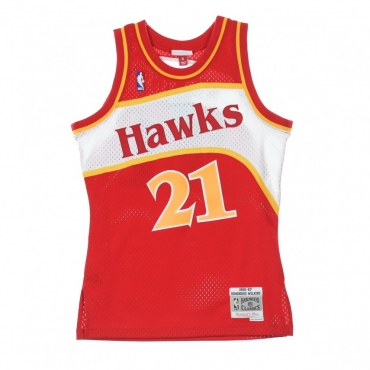 CANOTTA NBA SWINGMAN JERSEY DOMINIQUE WILKINS NO21 1986/87 ROAD ATLHAW ORIGINAL TEAM COLORS