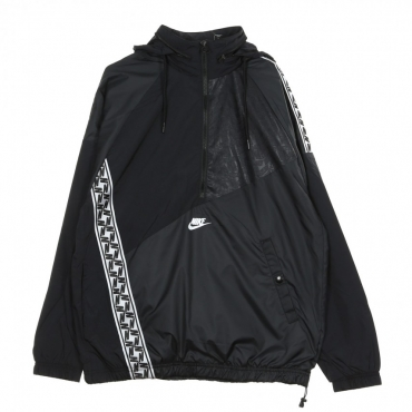WINDBREAKER TAPED WVN ANORAK BLACK/WHITE
