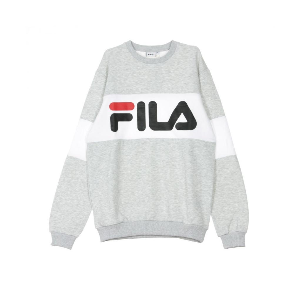 139230cf Fila - FELPA GIROCOLLO STRAIGHT BLOCKED CREW LIGHT GREY MEL/BROS/BR...