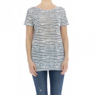 T-shirt donna - J077 fts203 t-shirt rigata lino 857 - Blu rigato