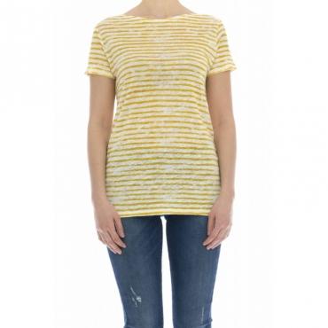 T-shirt donna - J077 fts203 t-shirt rigata lino 859 - Giallo rigato