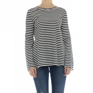 T-shirt donna - J8016 t-shirt manica lunga rigata 885 - blu