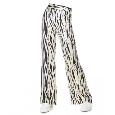 Pantaloni larghi con stampa animalier Beige