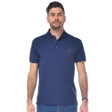 Polo uomo Ralph Lauren in cotone Slim Fit blu scuro