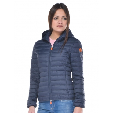 Piumino donna Save The Duck con cappuccio blu