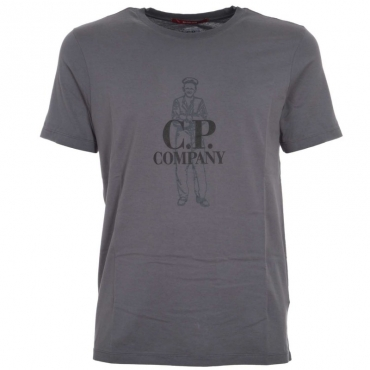 T-shirt in cotone con stampa frontale 999BLACK