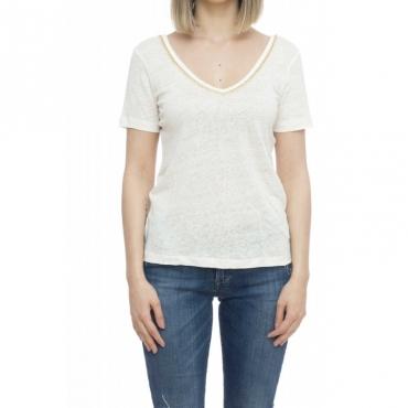 T-shirt donna - Efeso t-shirt con applicazione gioiello 60725 - Milk