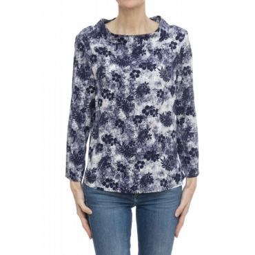 Camicia donna - Clara 45509 001 - Stampa bianca blu