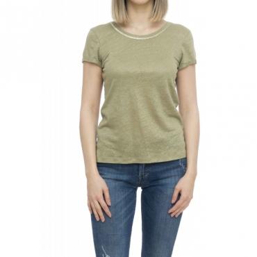 T-shirt donna - Vasamy t-shirt lino fiammato 52013 - Salvia
