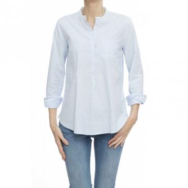 Camicia donna - S19202 camicia coreana righine 05 - Azzurro