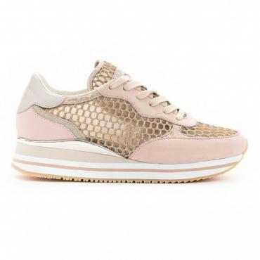 CRIME LONDON scarpa donna rosa rete glitter e pelle art DYNAMIC 25553PP151