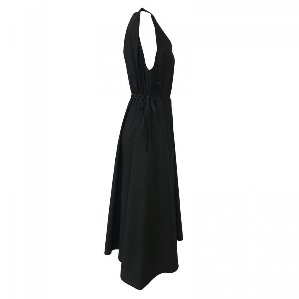 LEINEN schwarze Frau Kleid ohne Ärmel mod REGIL 100 Baumwolle MADE IN ITALY UNIQUE