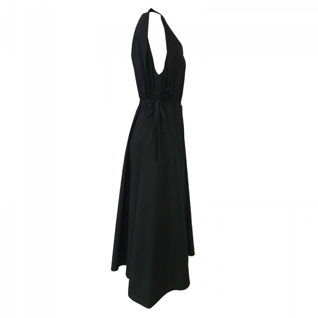 LINEN black woman dress without sleeves mod REGIL 100 cotton MADE IN ITALY UNIQUE