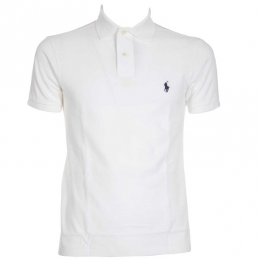 Polo slim fit in pique di cotone bianca WHITE