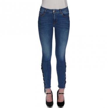 Pant skinny super stretch con lacci BLU