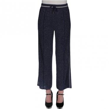 Pantalone maglia viscosa lurex BLU