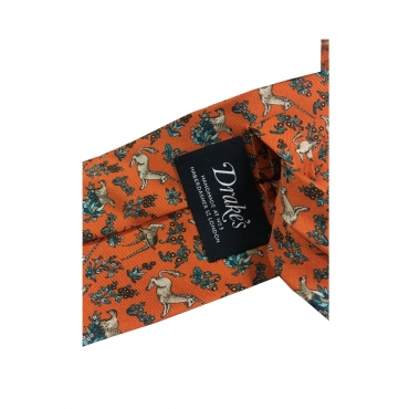 DRAKES LONDON cravatta uomo cm 8 foderata Fantasia con Unicorni Made in England Arancio
