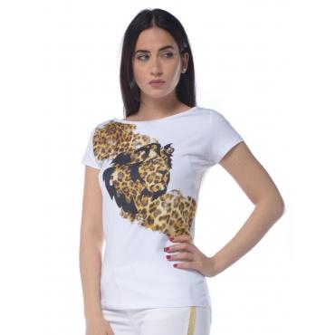 T-shirt donna Liu Jo con stampa animalier bianco