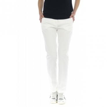 Pantalone donna - 175703 d6206 leyre gabardina lavata slim 010 - bianco